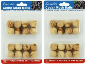 2 x 16pk Lavender Cedar Moth Balls Repellent Wardrobe Drawers Mothballs Protect 9326243167524