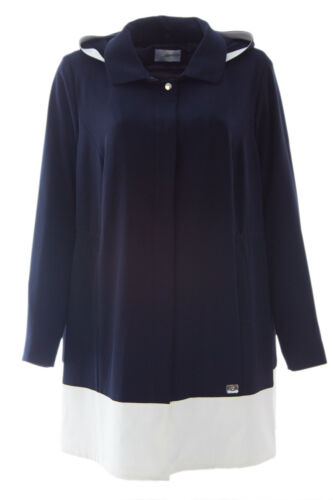 MARINA RINALDI Women/'s Navy Blue Centro Drawcord Lightweight Jacket $795 NWT