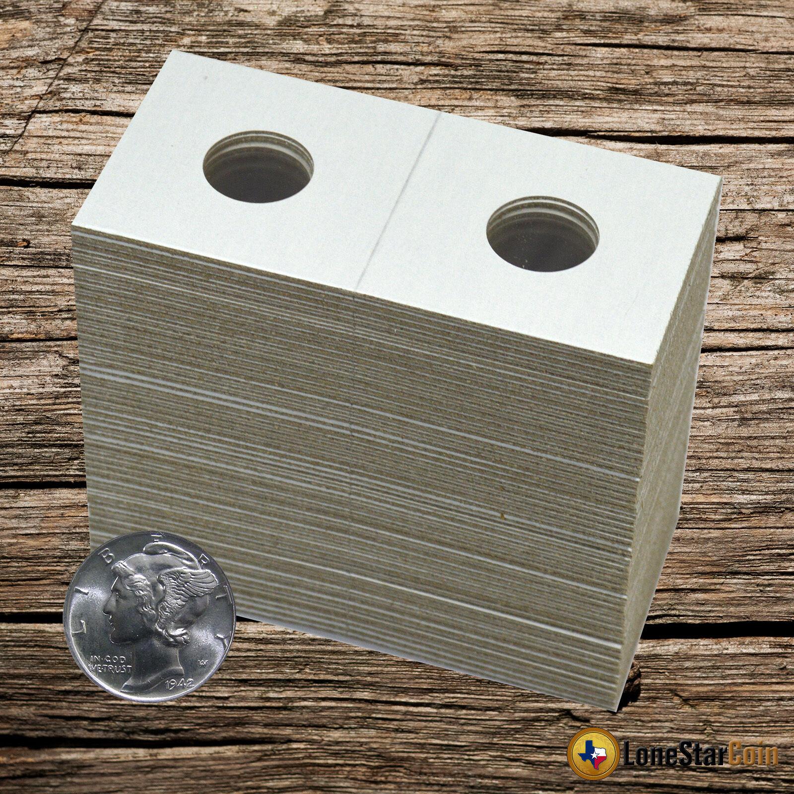 100 2x2 ROOSEVELT Dime Mylar Cardboard Coin Holder Flip Display Flips Guardhouse