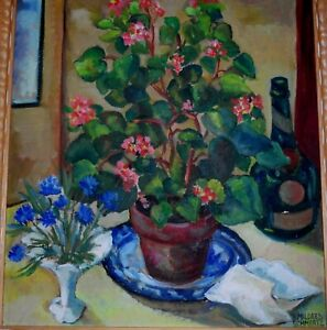 MILDRED-SCHMERTZ-ARTIST-SIGNED-ORIGINAL-OIL-PAINTING-OF-STILL-LIFE-FLOWERS