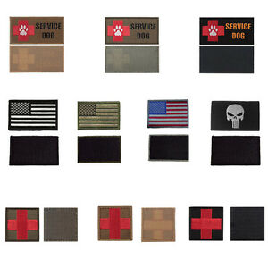 Tactical-Embroidered-Medical-First-Aid-Red-Cross-Service-Dog-Patches-2-Pieces