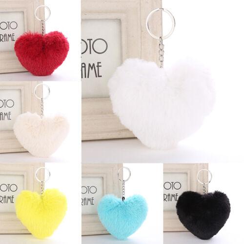 Heart Shape Soft Fluffy Fur Ball PomPom Keychain Handbag Pendant Charm Key Ring