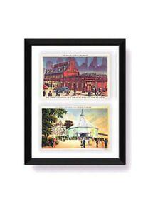 Details About Postcard Display Frame Mat For 2 Vintage Antique 3 1 X 5 Card Black
