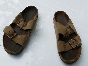 7aff90ba818 Details about BIRKENSTOCK taupe Distressed Leather Two Strap Cork Footbed  Sandal Sz 38