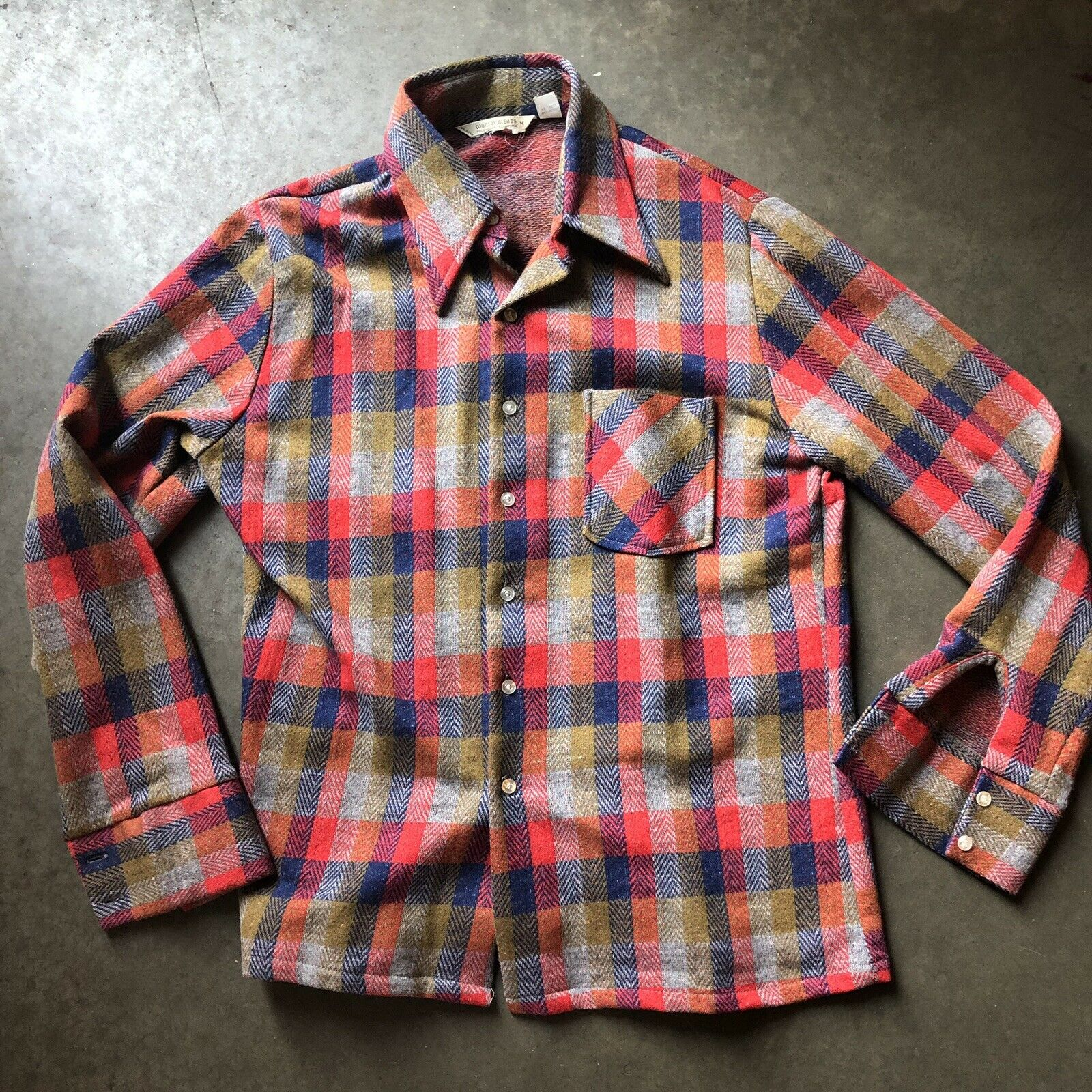 Men's Vintage 80's Country Blends Red bluee Plaid Flannel Button Up Shirt Sz M