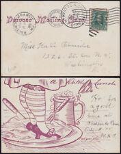 USA 1905/14 railroad cards good HYATTS & CHES BEACH RPO + litho Coliseum Chicago