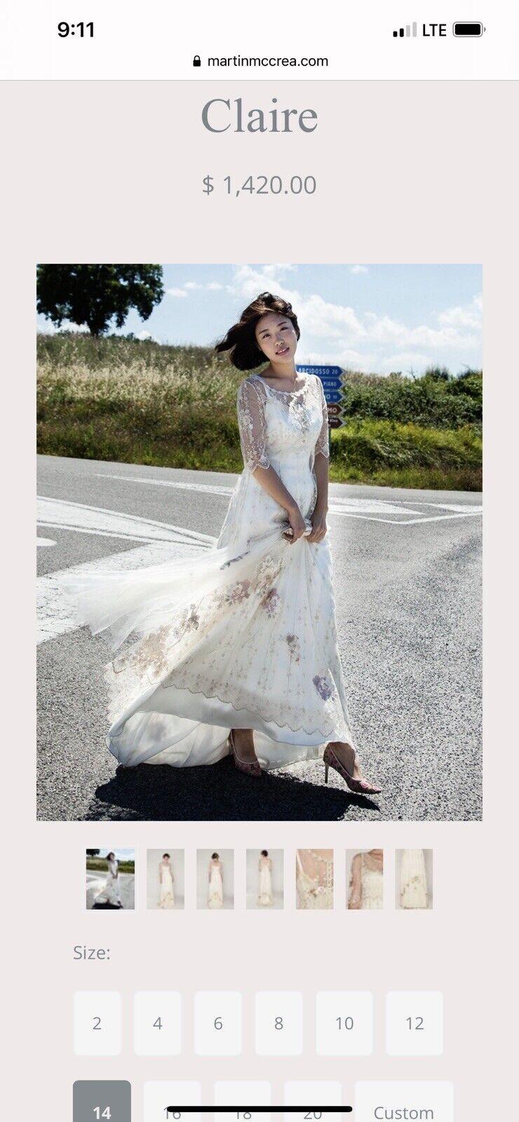 Martin McCrea Couture Wedding Dress 'Claire' Tea  - image 1