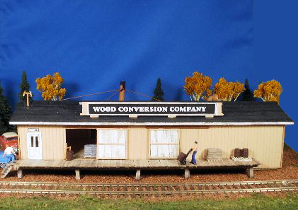 THE WOOD CONVERSION CO HO Model Railroad Factory Structure Unptd Laser Kit BR104