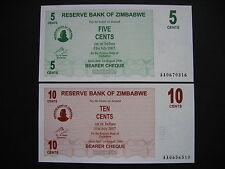 ZIMBABWE  5 + 10 Cents 1.8.2006  (P34 + P35)  UNC