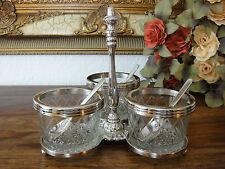 Tapas Schälchen Set Marmeladendose Kaviardose Dip Glas Silber Antik Jugendstil