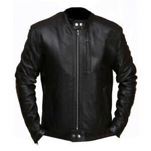 Men-039-s-Biker-Hunt-Black-Leather-Jacket