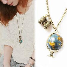 Vintage Globe Necklace Planet Earth World Map Art Pendant Ball Chain Gift FAN