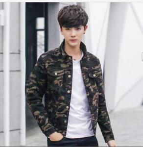 Fashion Men S Camouflage Slim Jean Jacket Denim Coat Students Casual
