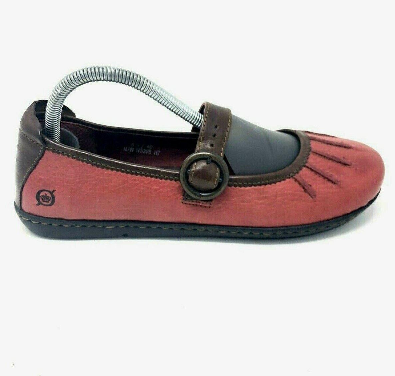 Børn Born Red Women's Comfort Shoes Flats US 8.5 EUR Leather Strap & Buckle EUC
