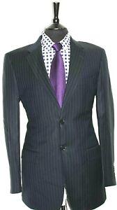 Luxury Mens Austin Reed Tailor Made Navy Pinstripe Suit 40l W34 X L33 Ebay