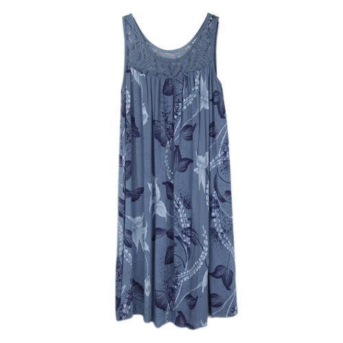 Plus Size Women Casual Floral Tank Dress Sleeveless Summer Loose Tunic Sundress
