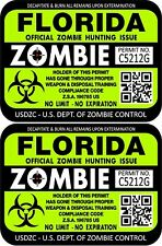 Prosticker 1219 Two 3x 4 Florida Zombie Hunting License Decals Stickers