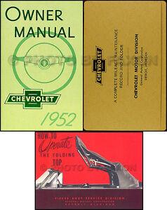 1952 Chevy D'convertible Manuel Du Propriétaire Set Guide Haut Livre Enveloppe