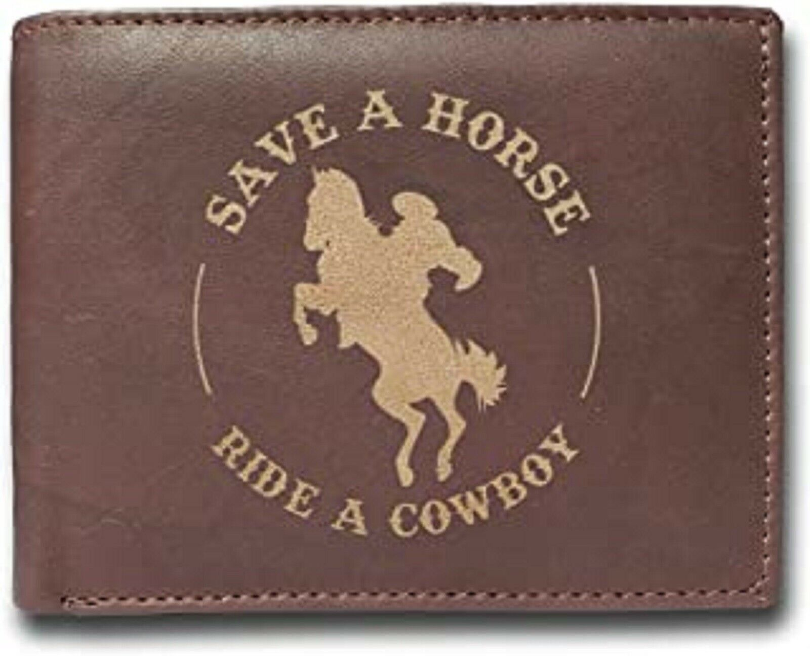 Save a Horse Ride a Cowboy Horse Riding Cowhide Leather Laser Engraved Engraving