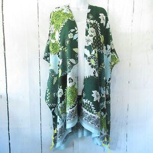 New-Angie-Kimono-Wrap-OS-One-Size-S-M-L-XL-Green-Asian-Floral-Tassel-Cardigan