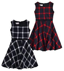2bd2b931ca8 Girls Sleeveless Winter Check Skater Dress New Kids Party Dresses ...