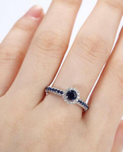 1-6ct-Round-Cut-Blue-Sapphire-Engagement-Ring-14k-White-Gold-Over-Halo-Solitaire