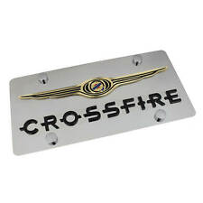 Chrysler Wing Logo + Crossfire Name On Polished Stainless Steel License Plate