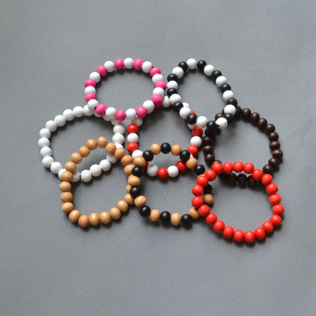 HipHop Good Quality Unisex Plain Charm 10mm Beads Flexible Wood Bracelet U Pick