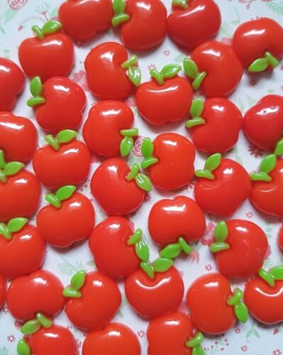 10 x Small Red Apple Flatback Resin Embellishment Crafts Hair bow Decoden UK