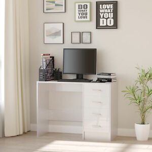 HOMCOM Computer Desk 4 Drawers Home Office Workstation High Gloss White