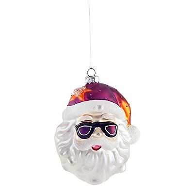 Santa Claus Head Glass Christmas Tree Bauble w/ Pink Hat