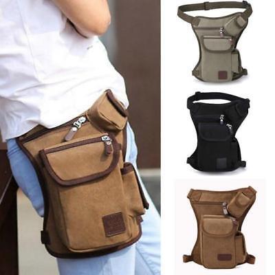 Men Canvas Outdoor Tactical Riding Hip Fanny Pack Waist Thigh Drop Leg Bag LG
