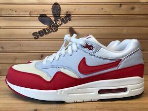 2013 Nike Air Max 1 OG Vintage sz 9 DS White Sail Red Grey 554717 160