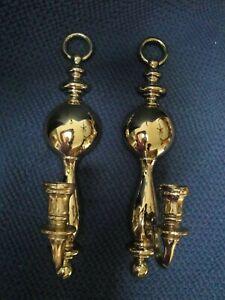 Vtg-Homco-Syroco-1977-Shiny-Gold-Set-of-2-Wall-Sconces-Candle-Holders-Decor-4189