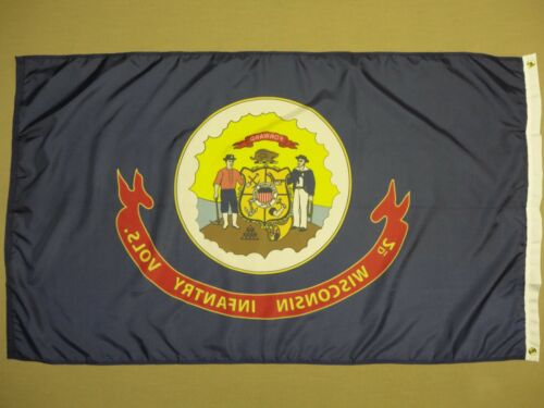 2nd Wisconsin Infantry Regiment Historical Indoor Outdoor Dyed Nylon Flag 3/'x5/'