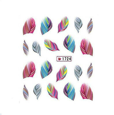 Beautiful Colorful Feather Nail Art Nail Decals Water Transfer Stickers