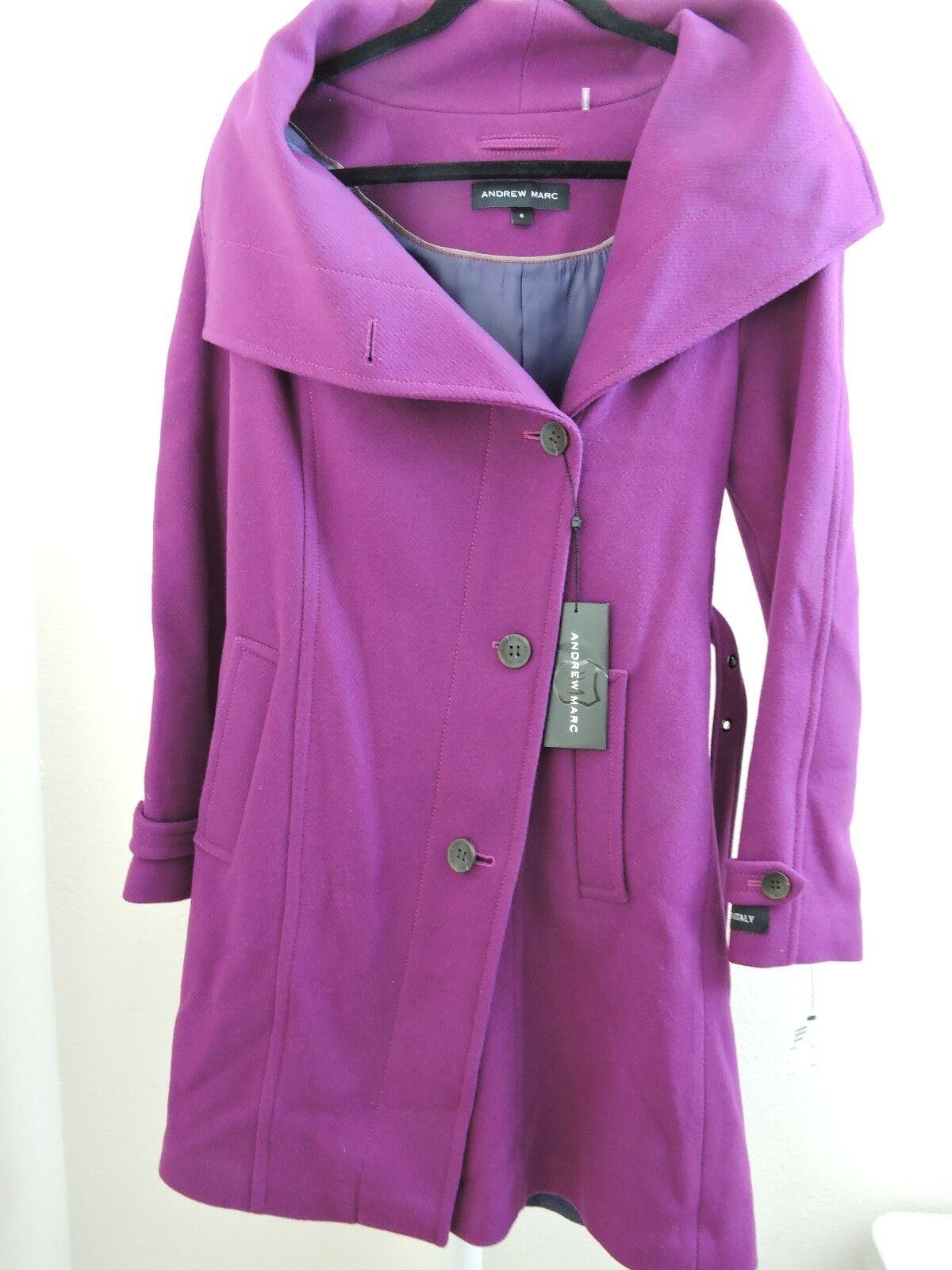Andrew Marc Italian Virgin Wool Lined Lavender Belted Dress Coat Size - 8