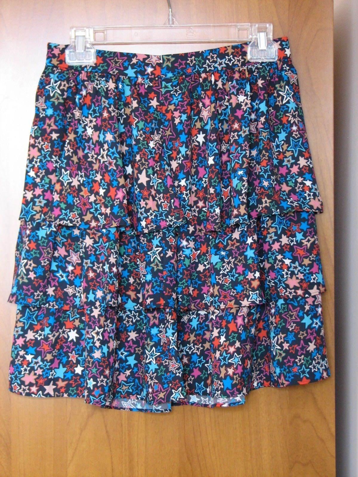 J Crew Women's Tiered Skirt in Kaleidoscope Star Print, H2600, Size 2