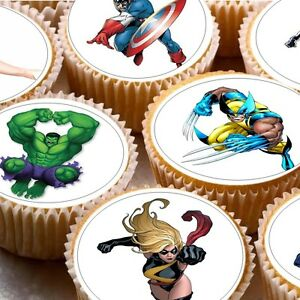 24 Edible cake toppers decorations Avengers D1 hulk iron man