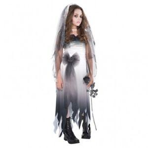 Gothic-Halloween-Kinder-Kostuem-Gr-170-Horror-Braut