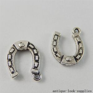 Vintage-Silver-Alloy-Lucky-Horseshoe-Pendants-Charms-Crafts-Findings-20pcs-50807