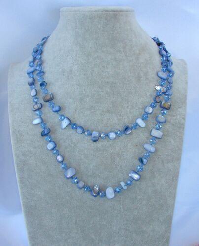 blu Naturale perle Collana Filo lungo madreperla,cristallo da donna