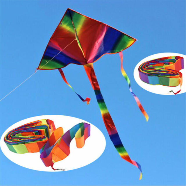 Interesting Colorful Rainbow Kite Long Tail Outdoor Kites Flying Toys  G