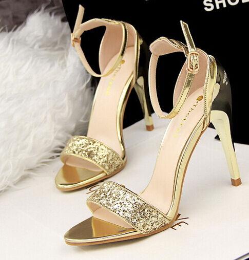 Elegante sandalo stiletto moda tacco 10 cm moda stiletto  colore oro 8665 efdbfa