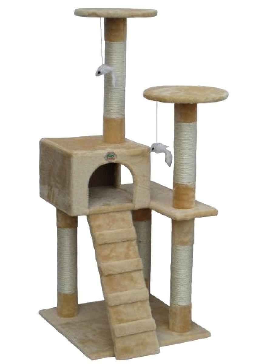 Go Pet Club Cat Tree Furniture Tower Scratcher 52 High Beige Condo Toy Playset