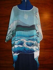 Silk Hiroshige's tunica di Off seta Satta Kaftan 100 xl Georgette Nuovo Sea L HTaqxtx