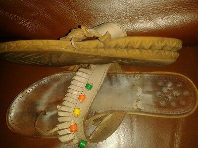 Cuero marrón claro con flecos Toe Post Sandalias Talla 4 (37)