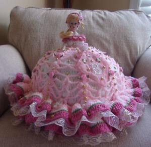 Details about #2-2018 Handmade Crochet Bed Pillow Porcelain Barbie Doll