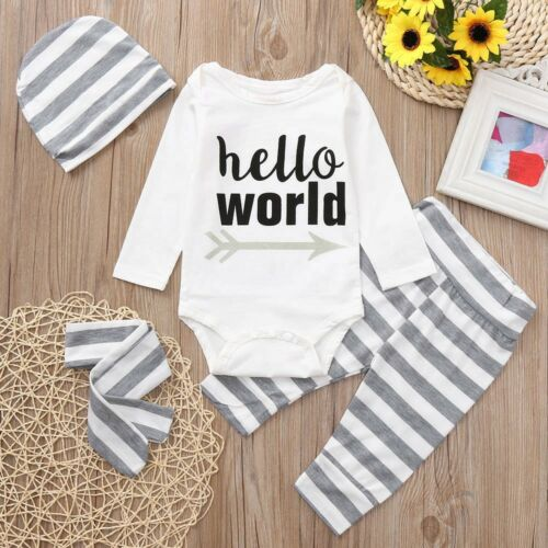 Newborn Infant Baby Boys Girl Romper Pants Bodysuit Sunsuit Outfit Set Clothes