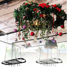 Pot And Pan Hanging Rack Ceiling Mount Kitchen Holder With 12 Hooks Blacksilver